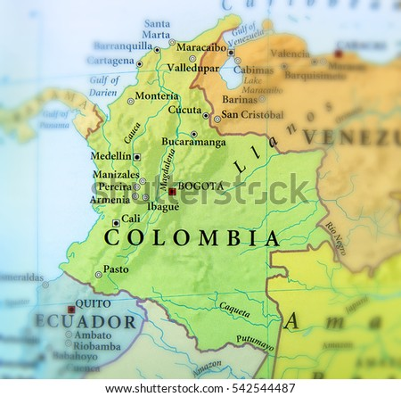 Geographic Map Columbia Countries Important Cities Stockfoto ...