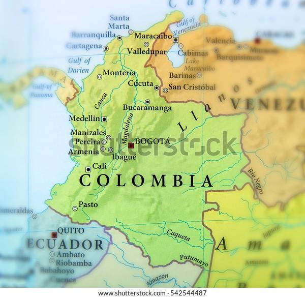 Geografisk Kort Over Columbia Lande Med Stock Foto Rediger Nu
