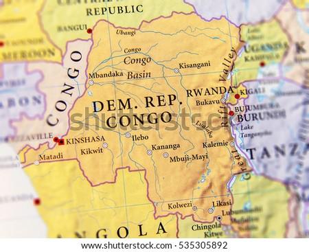 Geographic Map Democratic Republic Congo Important Stockfoto (Jetzt ...