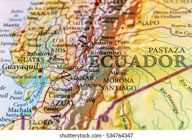Geographic map of Ecuador with important cities
