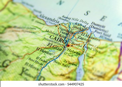 Geographic map of Egypt with capital city Cairo