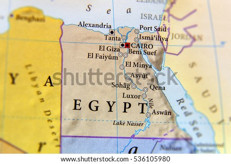 Geographic Map Egypt Important Cities Stock Photo (Edit Now ...