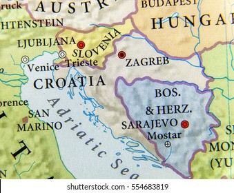 Geographic map of European country Bosnia and Herzegovina with important cities