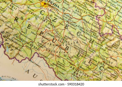 Geographic map of European country Czech Republic with important cities