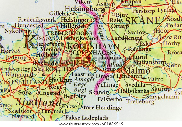 Geographic Map European Country Denmark Capital Stock Photo