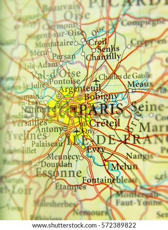 Map Of Yvelines France.Geographic Map European Country France Paris Stock Photo Edit Now