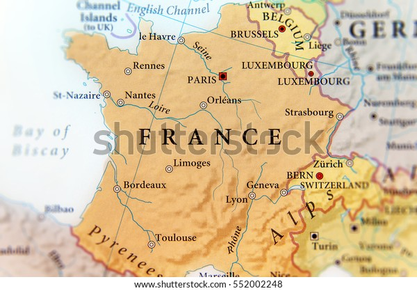 Map Of France With Cities In English.Geographic Map European Country France Important Stock Photo Edit