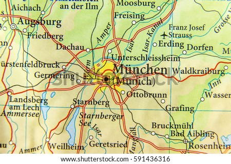 Map Of Germany Showing Munich.Geographic Map European Country Germany Munich Stock Photo Edit Now