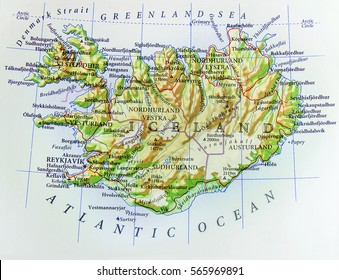 Geographic map of European country Iceland with important cities