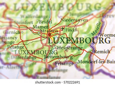 Geographic map of European country Luxembourg with Luxembourg capital city