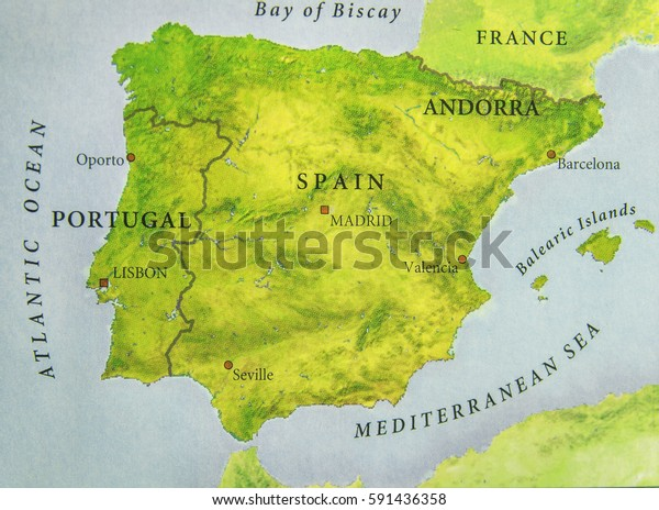 Map Of Portugal Spain France.Geographic Map European Country Portugal Spain Stock Photo Edit Now
