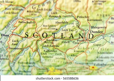 Geographic map of European country Scotland with important cities