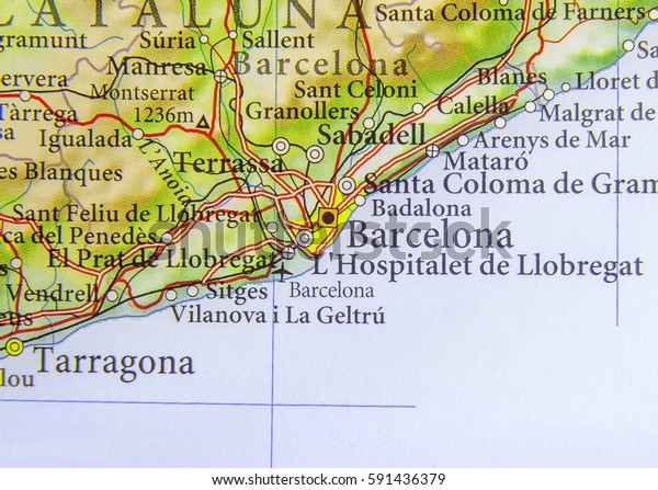 Map Of Spain With Barcelona.Geographic Map European Country Spain Barcelona Stock Photo Edit