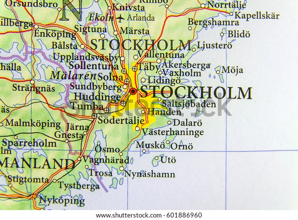Geographic Map European Country Sweden Capital Stock Photo