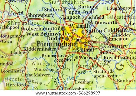 Map Of Uk Birmingham.Geographic Map European Country Uk Birmingham Stock Photo Edit Now