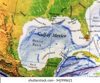 Geographic map of Gulf of Mexico in Mexico country