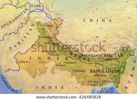 Map Of India Geographic.Geographic Map India Nepal Bhutan Bangladesh Stock Photo Edit Now