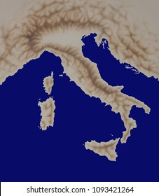 geographic map of Italy