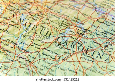 Geographic map of North Carolina close
