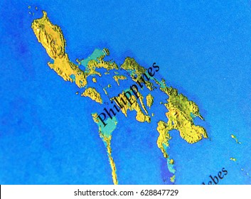 Geographic map of Philipines with important cities