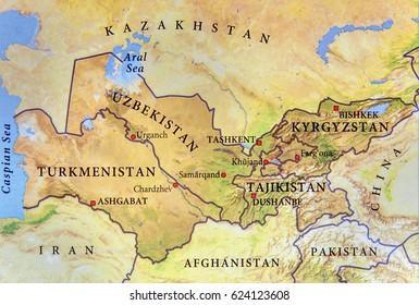 Geographic map of Turkmenistan, Tajikistan, Kyrgyzstan and Uzbekistan with important cities