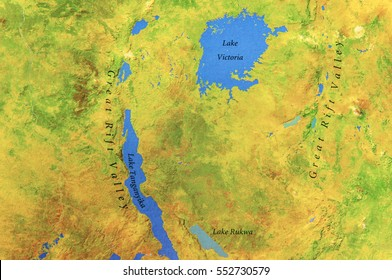 Geographic map of Uganda and Lake Victoria