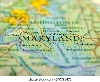 Geographic map of US state Maryland and Washington DC city