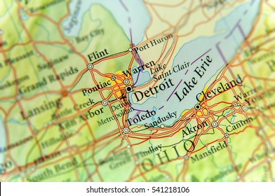 Geographic map of US state Michigan and Detroit city