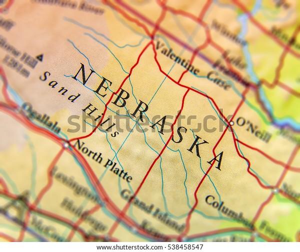 Geographic Map Us State Nebraska Important Stock Image ...