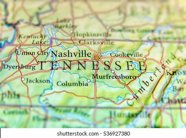 geographic map of us state tennessee with important cities