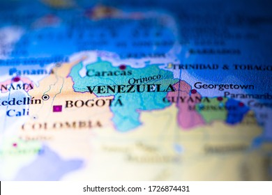 Geographical map location of country Venezuela in South American continent on atlas