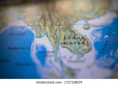 Geographical map location of Indochina region in Asia continent on atlas