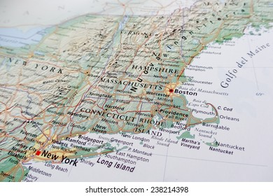 Geographical view of Boston (Geographical view altered on colors/perspective and focus on the edge. Names can be partial or incomplete)