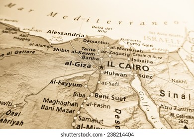 Geographical view of Egypt (Geographical view altered on colors/perspective and focus on the edge. Names can be partial or incomplete)