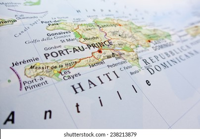 Geographical view of Port-au-Prince (Geographical view altered on colors/perspective and focus on the edge. Names can be partial or incomplete)