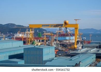 Geoje island, South korea - 11 January 2017 : Daewoo Shipbuilding and Marine Engineering (DSME) in the city of Okpo consists of large crane factory for block assembly and offshore platform