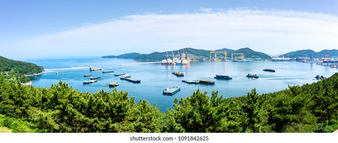 GEOJE ISLAND, SOUTH KOREA - MAY 13, 2018 : Bay of Daewoo Shipbuilding and Marine Engineering (DSME) in Okpo city, The bay consists of Marine engieering facilities, various ships and offshore platforms
