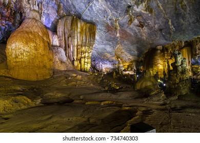 Geological formations inside the Phong Nha cave at Phong Nha-Ke Bang National Park in Vietnam.