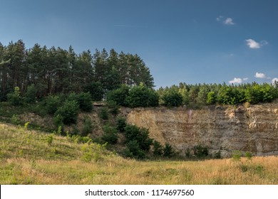 geological outcrop in abandoned flintstone quarry