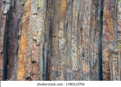 Geological rock layers.Close-up abstract shot of the rock face