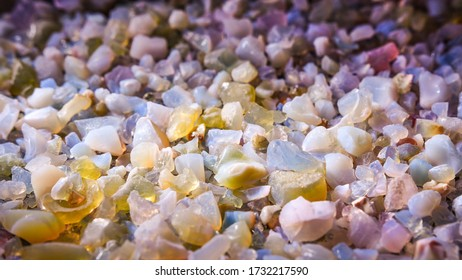 Geological samples scattered in a container on the table, small colored pebbles change color in the light.