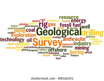 Geological Survey, word cloud concept on white background.