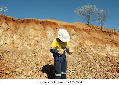 Geologist Analyzing Rock - Australia