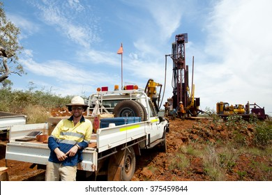 Geologist in Iron Ore Drilling Field - Outback Australia