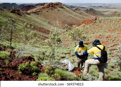 Geologists Sampling Rocks - Pilbara - Australia