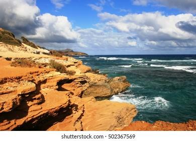 Geology on Shipwreck Coast, Kauai Island, Hawaii