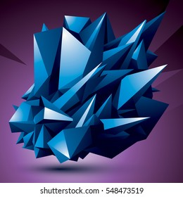 Geometric abstract 3D complicated object, colorful asymmetric element isolated.