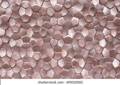Geometric abstract metal texture,rose gold, red gold.