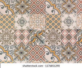 geometric abstract mosaic pattern, tile for kitchen