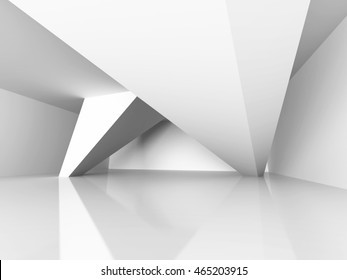 Geometric Architecture Construction. Modern Interior Background. 3d Render Illustration